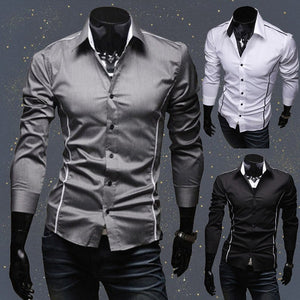 New Men Shirt Social Masculina Casual Slim Fit Mens Dress Shirts Business Long Sleeve Suit Shirt