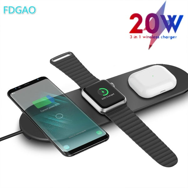 FDGAO 3 In 1 20W Qi Fast Wieless Charger Pad Phone Charging Dock Charging Station for Apple Watch 5 4 3 2 1 Airpods Apple Iphone SE 11 Pro Max X Xs Xr 8plus Samsung S20 S10 S9 Huawei P40 P30 Pro Xiaomi and ALL QI-Standard Smartphones