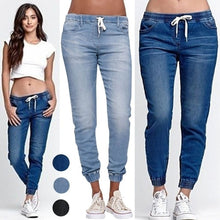 Load image into Gallery viewer, Women Drawstring Denim Pants Casual Lace Up Slim Skinny Jeans Pants