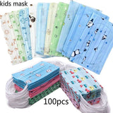 40pcs Children's Face Mask Printed Disposable Three-layer Thickened Mask Disposable Mask with Elastic Ear Loop For Kids