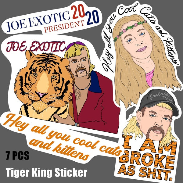Tiger King Joe Exotic Carole Baskin Cool Cats and Kittens Cartoon Vinyl Sticker