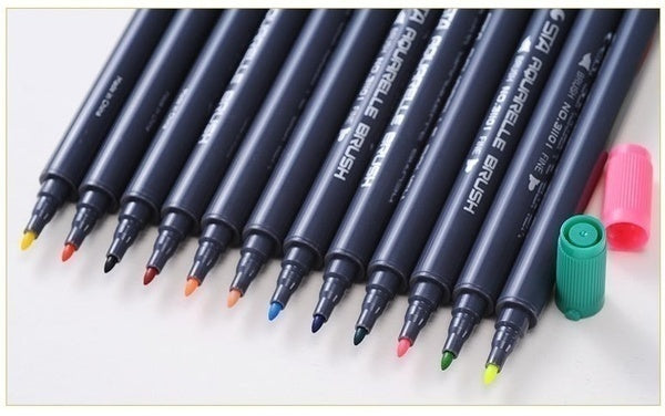 80 Colors 1PCS Dual Tip Brush Marker Pens Adults Children Painting Water Color Pen (Random Color)