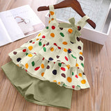 4 Colors Baby Toddler Colorful Polka Dots Strappy Top and Solid Shorts Set Summer Girls Chiffon Casual Suit Set
