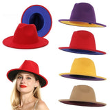 2020 New Yellow Purple Patchwork Cotton Polyester Felt Jazz Fedora Hats Men Women Wide Brim Panama Cowboy Trilby Hat M/L