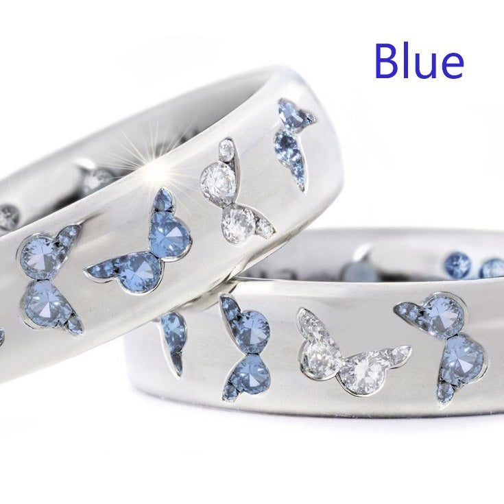 925 Sterling Silver Women Fashion Jewelry Romance Butterfly Two Tone Gemstone Pink and Blue Sapphire Wedding Band Charming Bride Proposal Engagement Diamond Eternity Jewelry Anniversary Christmas Gifts for Lady Girlfriend Mother(2 Color Options) Size 5-11