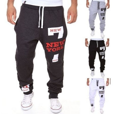 New Print Mid Waist Polyester Loose Men's Pants