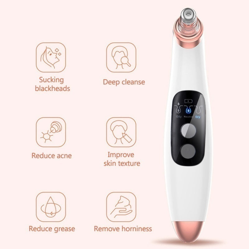 Electric LCD Blackhead Vacuum Acne Cleaner Pore Remover Facial Cleanser Skin Care