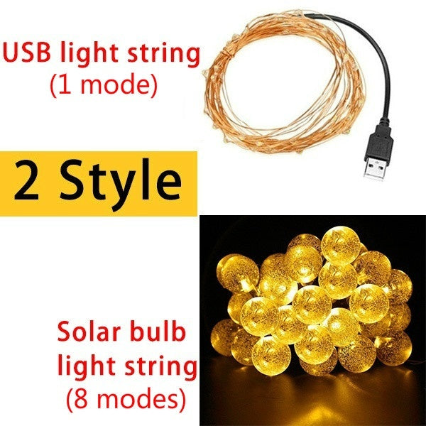 10/20/30/50/100 LED USB String Lights/Globe Solar String Lights, Waterproof 8 Modes 4 Colors Crystal Ball Lighting for Patio, Lawn, Garden, Wedding, Party, Christmas Decorations