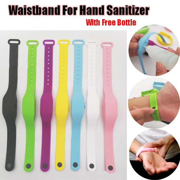Adults and Kids Wristband for Hand Sanitizer Kids and Adults Liquid Hand Dispenser Bracelet Gel Hand Sanitizer Dispensing Handwash Portable Waterproof Silicone Bracelet Alcohol Dispensing Dispenser with Bottle