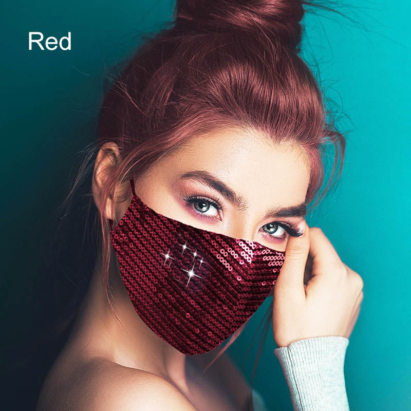 New Vogue Shiny Sequins Face Mask for Women Dustproof Elastic Comfortable Mouth Mask Party Jewelry Accessories