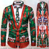 Mens Funny 3D Fake Tie Christmas Shirts Formal Casual Long Sleeve Button Down Shirts Ugly Christmas Shirts Gifts
