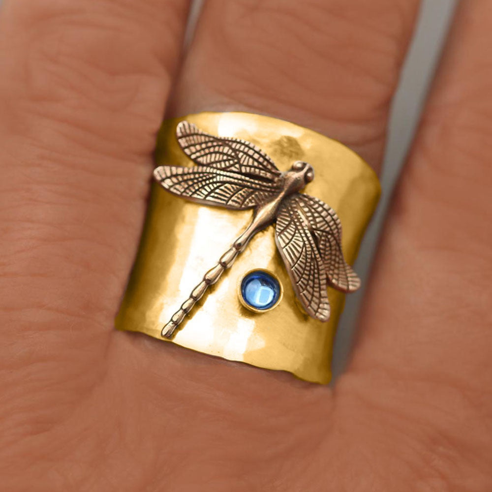 Vintage 925 Sterling Silver Womens Ring Two Tone 18k Solid Gold Dragonfly Natural Aquamarine Jewelry Birthday Anniversary Gift Bridal Proposal Engagement Wedding Band Rings for Grilfriend Size 5-12