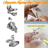 1 PC Ring Knitting Loop Crochet Tool Hot New Sewing Accessories Stainless Steel Finger Wear Ring Sewing Accessories Peacock Fish Phoenix Thimble Ring