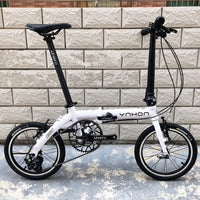 YNHON Folding Bike 14/16inch V Brake Single Speed 412 Outer 3S Urban Commuter Bicycle LTWOO DIP Retro Leisure Chilid BMX