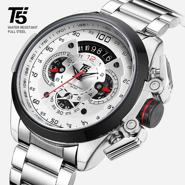 T5 Brand Luxury Black Gold Male Watch Military Quartz Sport Wrist Watch Men Chronograph Waterproof Mens Watches Sport Wristwatch
