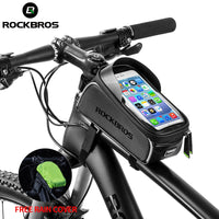 ROCKBROS Bicycle Bag Waterproof Touch Screen Cycling Bag Top Front Tube Frame MTB Road Bike Bag 6.0 Phone Case Bike Accessories