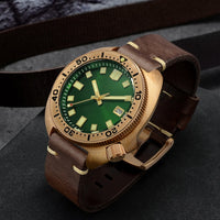 San Martin Abalone Bronze Diver Watches Men Mechanical Watch Luminous Water Resistant 200M Leather Strap Stylish Relojes часы