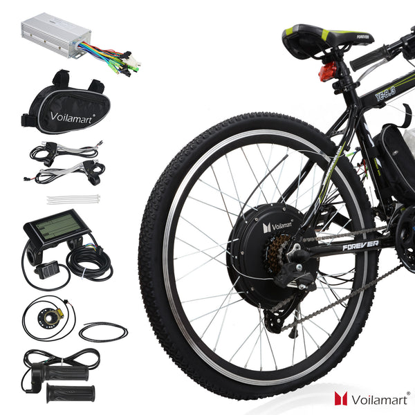 "Voilamart 28"" 1000W Rear Wheel Electric Bicycle Conversion Kit Speed Hub Motor with LCD Meter"