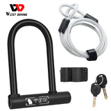WEST BIKING Bicycle U Lock MTB Road Bike Wheel Lock 2 Keys Anti-theft Safety Motorcycle Scooter Cycling Lock Bicycle Accessories