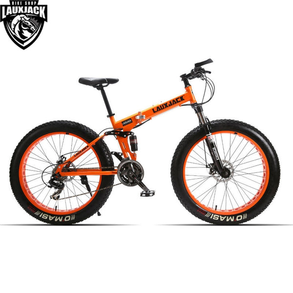 "LAUXJACK Mountain Fat Bike Full Suspension Steel Foldable Frame 24 Speed Shimano Mechanic Brake 26""x4.0 Wheel"