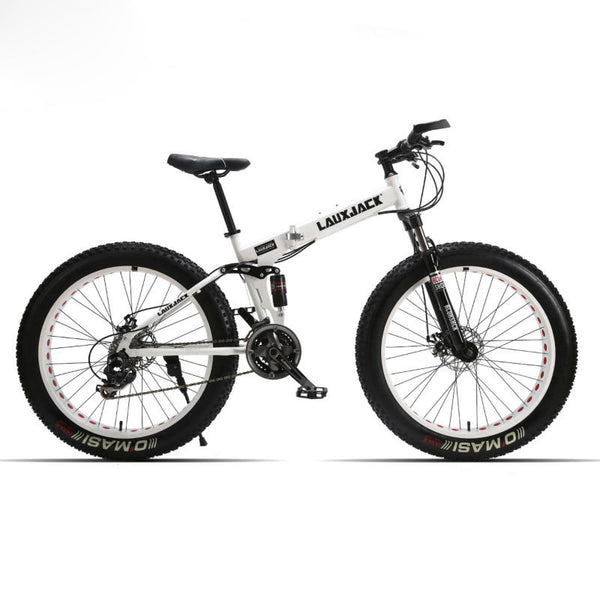 "LAUXJACK Fat Bike Full Suspension Steel Foldable Frame 24 Speed Shimano Mechanic Brake 26""x4.0 Wheel"