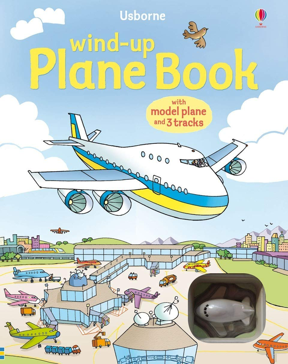 Usborne Wind-Up Plane Book  (with model plane  and 3 tracks)