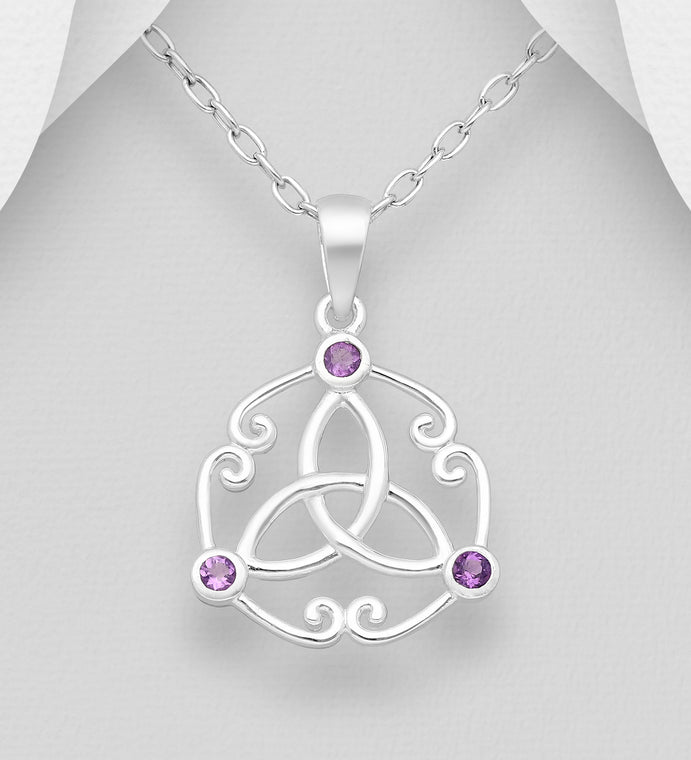 925 Sterling Silver Celtic Pendant, Decorated with Amethyst - The Silver Vault UK