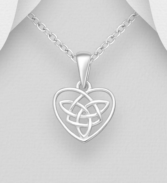 925 Sterling Silver Celtic Heart Pendant & Chain - Valentines Gift Idea - The Silver Vault UK