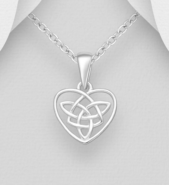 925 Sterling Silver Celtic Heart Pendant & Chain - The Silver Vault UK