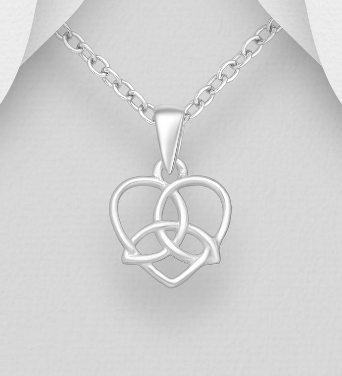 925 Sterling Silver Celtic Trinity and Heart Pendant & Chain Valentines Gift Idea - The Silver Vault UK