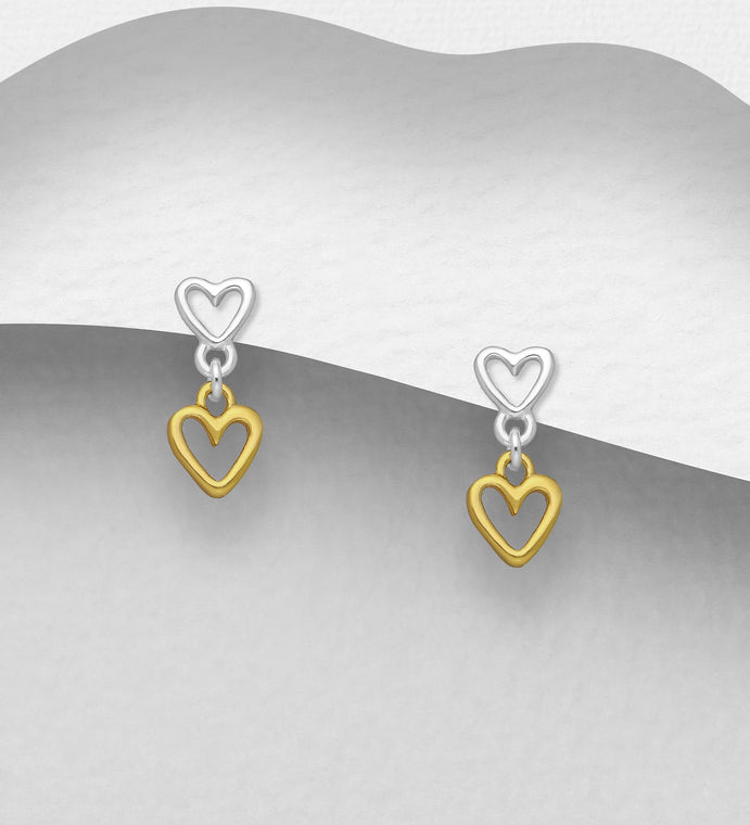 925 Sterling Silver Double Heart Stud Earrings Plated with 1 Micron of 18K Yellow Gold - Valentines Gift Idea - The Silver Vault UK