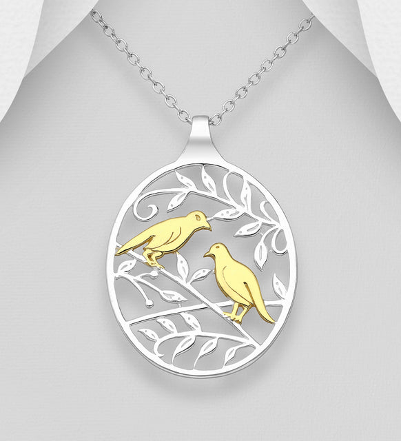 925 Sterling Silver Leaf and Bird Pendant and Chain, Bird Plated with 1 Micron of 8K Yellow Gold - Valentines Gift Idea - The Silver Vault UK