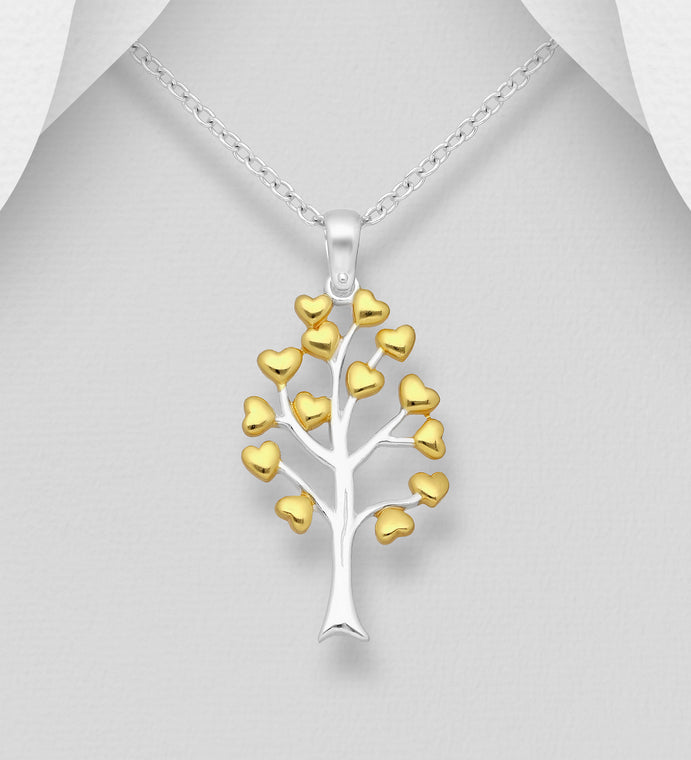 925 Sterling Silver Heart and Tree of Life Pendant, Heart Plated with 1 Micron of18K Yellow Gold - Valentines Gift Idea - The Silver Vault UK