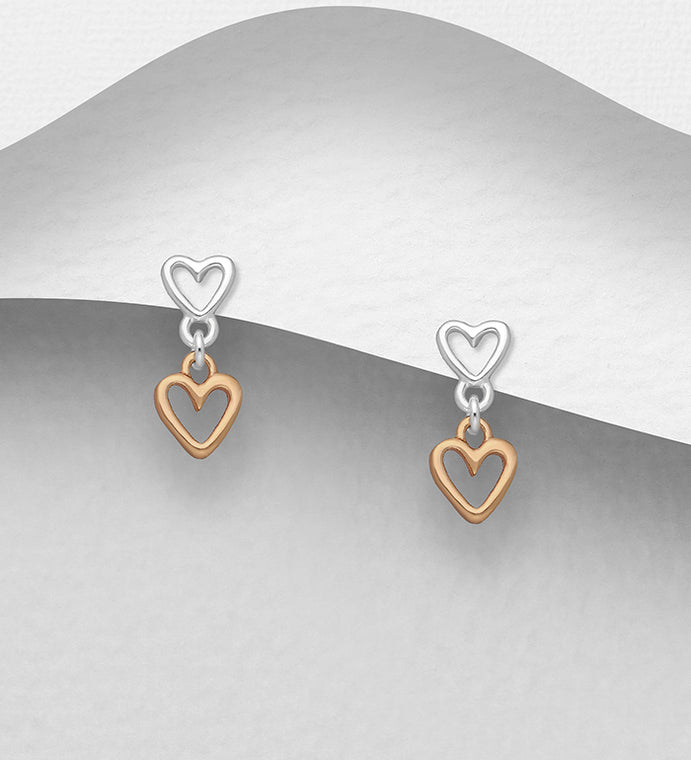 925 Sterling Silver Double Heart Stud Earrings Plated with 1 Micron of 18K Pink Gold - Valentines Gift Idea - The Silver Vault UK