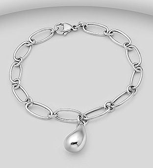 925 Sterling Silver Bracelet with a Solid Charm. - The Silver Vault UK