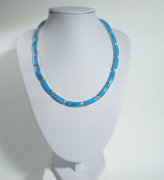 925 Solid Sterling Silver Hand Crafted Necklace, Set With Blue Turquoise Shell - The Silver Vault UK