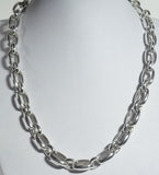 925 Sterling Silver Hand Crafted Necklace With Solid Oblong Links. - The Silver Vault UK