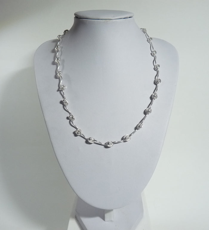 925 Sterling Silver Solid Hand Crafted Necklace. - The Silver Vault UK