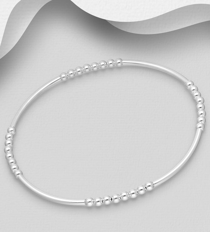 925 Sterling Silver Stretch Tube Bracelet with Ball Beads - The Silver Vault UK
