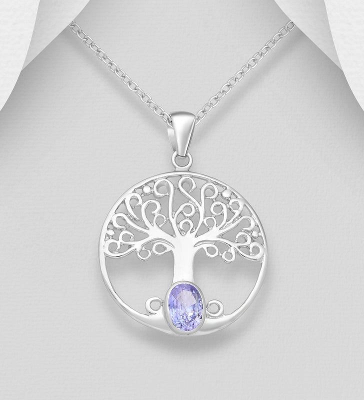 925 Sterling Silver Round Open Work Tree Of Life Pendant Set With A Oval-Cut Tanzanite Stone - The Silver Vault UK