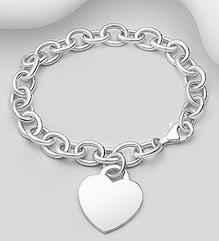 925 Sterling Silver Bracelet with a Solid Heart Charm. - Valentines Gift Idea - The Silver Vault UK