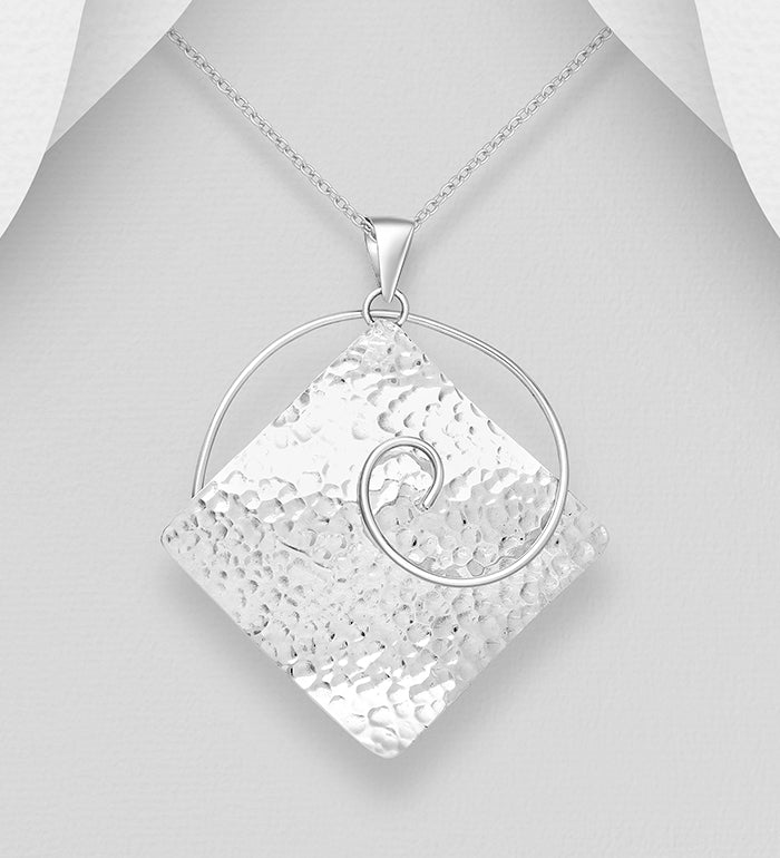 925 Sterling Solid Hand Crafted Silver Pendant & Chain - The Silver Vault UK