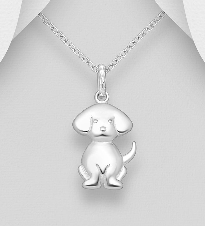 925 Sterling Silver Dog Pendant & Chain - The Silver Vault UK