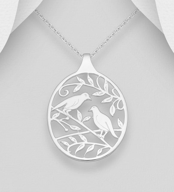 925 Solid Sterling Silver Birds and Leaf Open Work Pendant & Chain