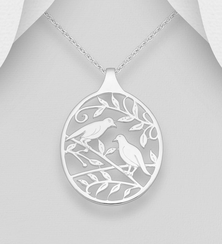 925 Solid Sterling Silver Birds and Leaf Open Work Pendant & Chain - The Silver Vault UK