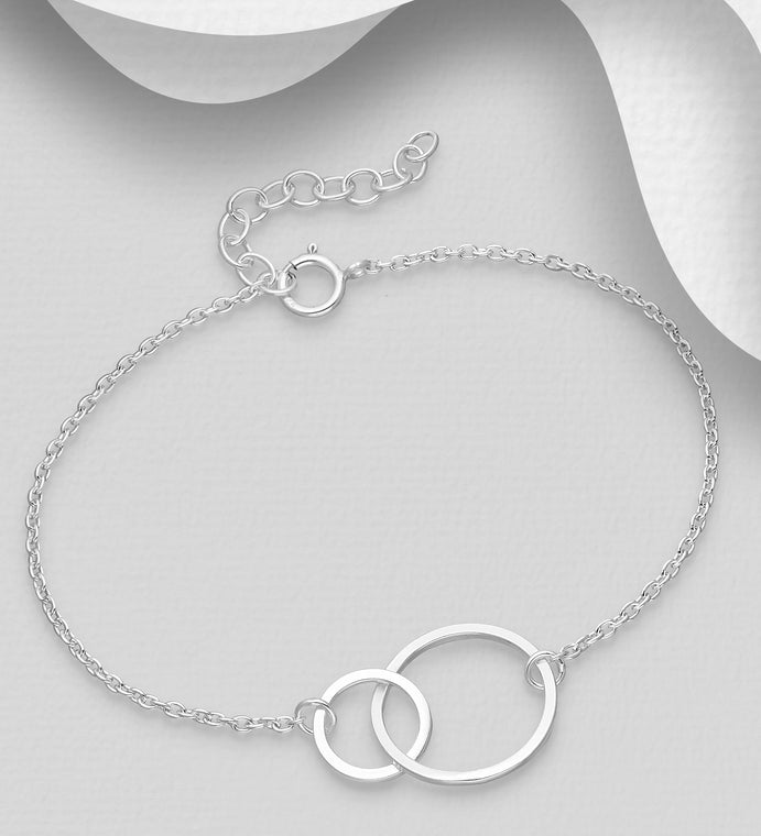 925 Sterling Silver Double Circle interlinked Bracelet - Valentines Gift Idea - The Silver Vault UK