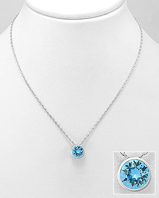 925 Sterling Silver Pendant & Chain Decorated with Verifiable Authentic  Swarovski  Aquamarine Stone - The Silver Vault UK