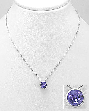 925 Sterling Silver Pendant & Chain Decorated with Verifiable Authentic Swarovski Tanzanite Stone - The Silver Vault UK
