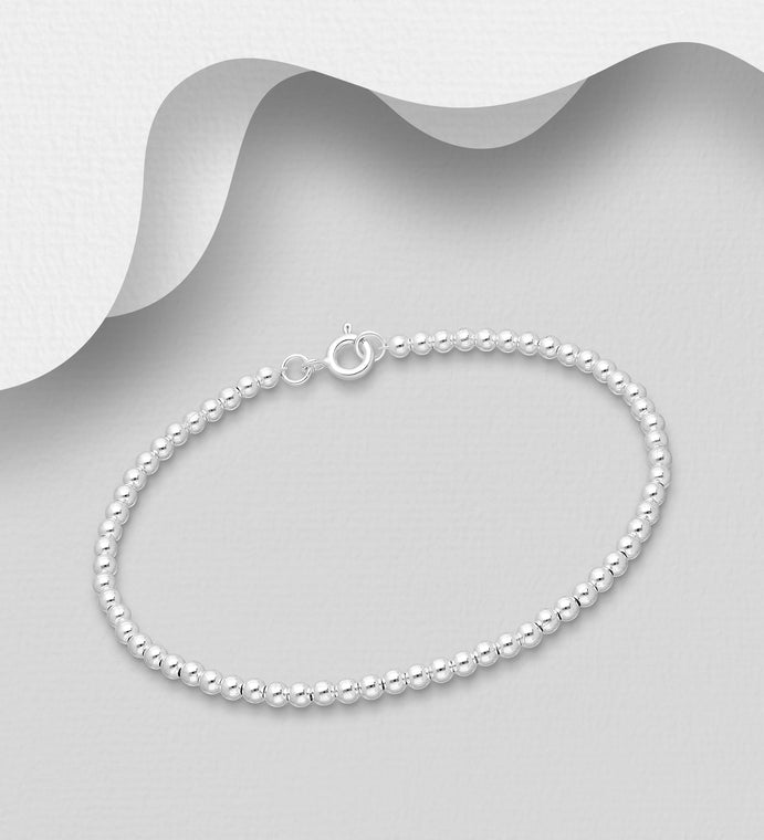 925 Sterling Silver Ball Bracelet - The Silver Vault UK