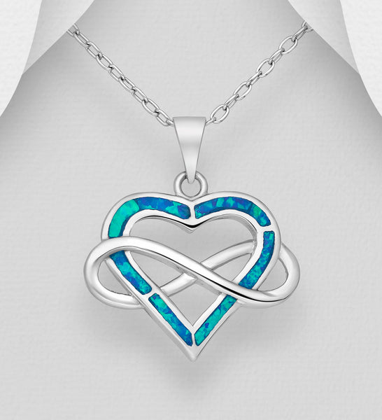 925 Sterling Silver Heart Stone Set Pendant & Chain Entwined With The Infinity Symbol  Decorated With Lab-Created Opal - The Silver Vault UK